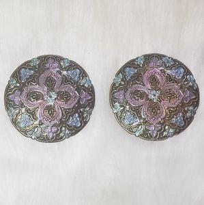 Vintage Large Floral Painted Brass Stud Earrings